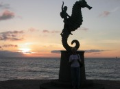 Sunset on Puerto Vallarta's malecon