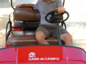 Casa de Campo is a 7,00-acre playground. Guests are provided with  golf carts to go from the myriad restaurants, beach, golf courses and activity Centre. GRW Jeff Wallach is on his way to a nap after 18 back-breaking holes on The LInks