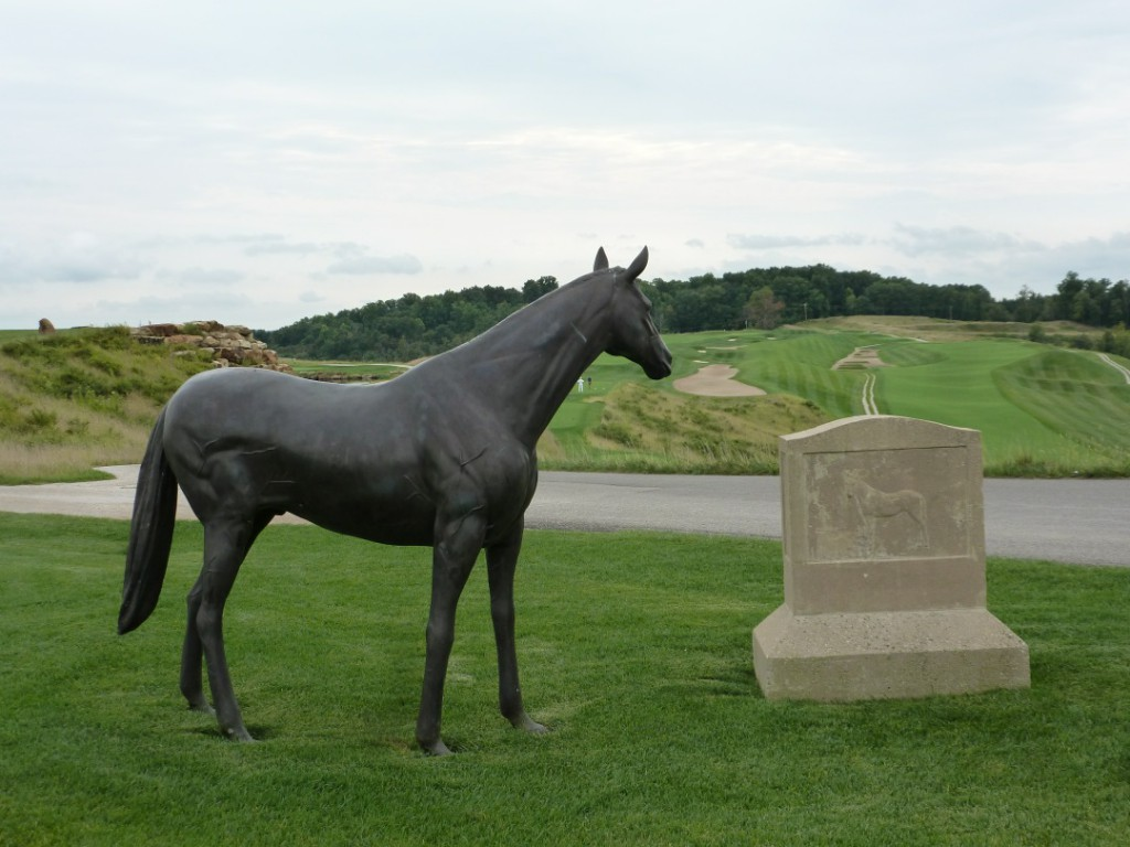 A sculpture of the  racehorse, Peter the Great, stands atop the great  Pete Dye Course at French Lick Resort