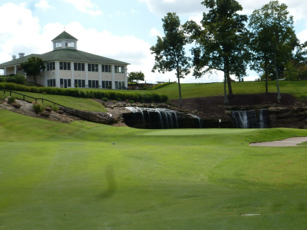 Sultan's Run ends with a spectacular waterfall on the 18th