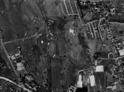 A 1934 aerial photograph of the Taft School's nine-hole course. Only the green on the far right appears to be a Raynor design. (Photo courtesy State of Connecticut Library)