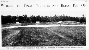 A massive bunker complex on Columbia Country Club from a 1921 issue of Golf Illustrated.