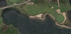 The current Cape Hole at the National Golf Link of America with the road removed. The original green was most likely surrounded by the inlet to the left of the current green.