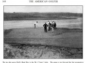 A view of the National Golf Links America Cape Hole tee shot from the August 1910 issue of American Golfer.