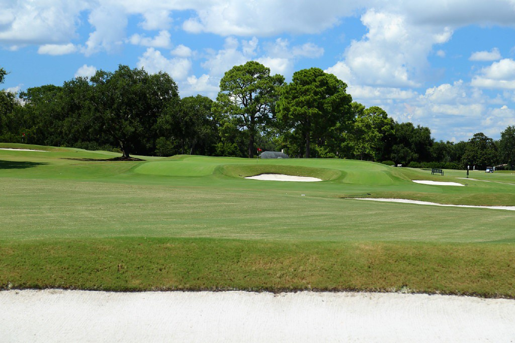 The front bunker of the Lion's Mouth green, on the 16th hole, dominates players' vision and thinking.
