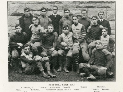 Charles Banks, middle row third from right, was a starter on the Hotchkiss School football team his senior year. He graduated in 1906. (Courtesy the Hotchkiss School Archives)