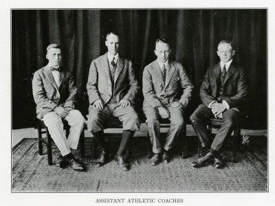 Charles Banks, second from left, with other assistant coaches. The photo appeared in the 1918 Hotchkiss School yearbook. (Courtesy the Hotchkiss School Archives)