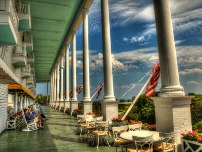 The front porch of the historic Grand Hotel on Mackinac Island.