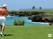 The tee shot to the par three 13th at Punta Espada
