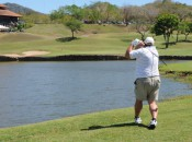 Going for the 18th green in two at Reserva Conchal