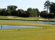 Two lakes are in play at the Carolina Club's par-five 9th