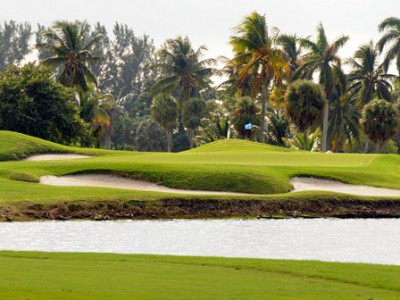 The 11th green at Crandon is defended by water, sand, mounding and a mangrove thicket.