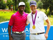 Chris Paul let U.S. Open champion Webb Simpson try on his new gold medal at Wednesday's Wyndham action.