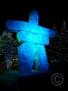 A Stonehenge-like inukshuk stands tall in Whistler, host site to several Winter Olympics events. © Photo by Chris Duthie