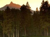 Three Fingered Jack rises above the tenth green at the Big Meadow Course at Black Butte Ranch.