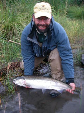 The author with a native Deschutes steelhead caught during a float of the lower river, from Mack's Canyon to the Mouth.