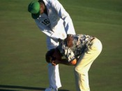 Carl Jackson consoling Ben Crenshaw after his putt to win The Masters in 1995