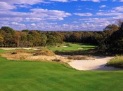 The fifth hole at Sebonack shows the old-school polish of Nicklaus admixed with the untame touches espoused by Tom Doak