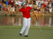 Keegan Bradley successfully negotiated the 18th hole twice in winning the PGA. Photo copyright Icon SMI.