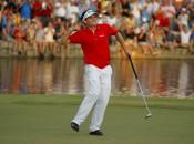 Keegan Bradley successfully negotiated the 18th hole twice in winning the PGA. Photo copyright Icon SMI.