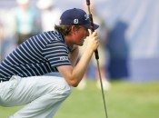 Webb Simpson became the third straight winner to use a long or belly putter. Photo copyright Icon SMI.