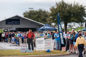 Demo Day at the Orange Country National Golf Center was well attended as shown by the registration line.