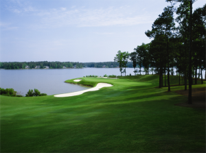 Number 11 on Great Waters course is a short but challenging par-4.