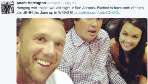 Jason Dufner and wife Amanda hang out with Auburn University pal, Adam Harrington (Photo: Twitter via @aharri21)