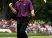 Stuart Appleby reacts after birdie putt on 18 gives him an 11-under 59 in final round of 2010 Greenbrier Classic (Photo: Scott Halleran/Getty Images)