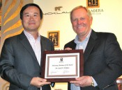 Finergy Capital CEO Guang Yang (left) and Jack Nicklaus