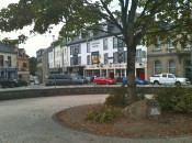 A quiet Sunday morning on the Diamond in Donegal Town. That's the road south, to Sligo.