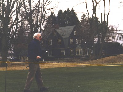My dad on the 8th green at Nehoiden, right across the street from the house where grew up. It's late November; the greens have been staked for fencing at the first snow. We sprinkled his ashes here, and there's a memorial bench for him just right of this frame, on the 9th tee. There is no headstone in any cemetery for him. This is his spot, for all eternity.