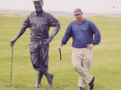 A big fan of golf statues, Herb strikes the pose with a tribute to Payne Stewart at Waterville