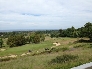 Do not adjust your laptop. That tilt shows seriously uphill No. 9 (foreground) and No. 18 at the Duke's Course.
