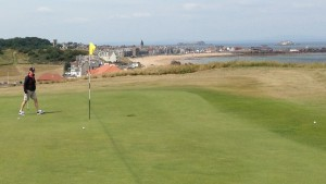 You can't see the first fairway from the high-perched first green at the Glen Club. But you do have a panoramic view of North Berwick.