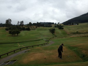 Liz on 1st tee at Pitlochry. That fairway is a lot steeper than it looks.