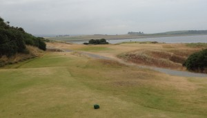 First tee at Castle Stuart looks out to an inviting fairway