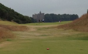 View from 4th hole of building that puts the castle in Castle Stuart.
