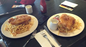 Castle Stuart doesn't skimp on the fish & chips. That's one order, good for two hungry golfers.