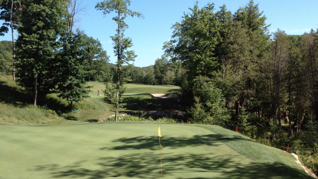 No. 14 at Cedar River, with 13th green in background.