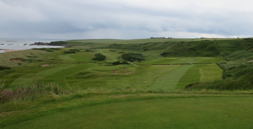 The lofty 10th tee at Cruden Bay provides a panoramic view of No. 10, the par-three 11th, the par-five 13th and Cruden Bay itself.