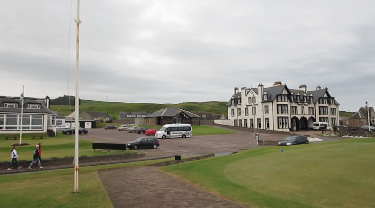 Machrihanish clubhouse, left, and Ugadale Hotel, right.