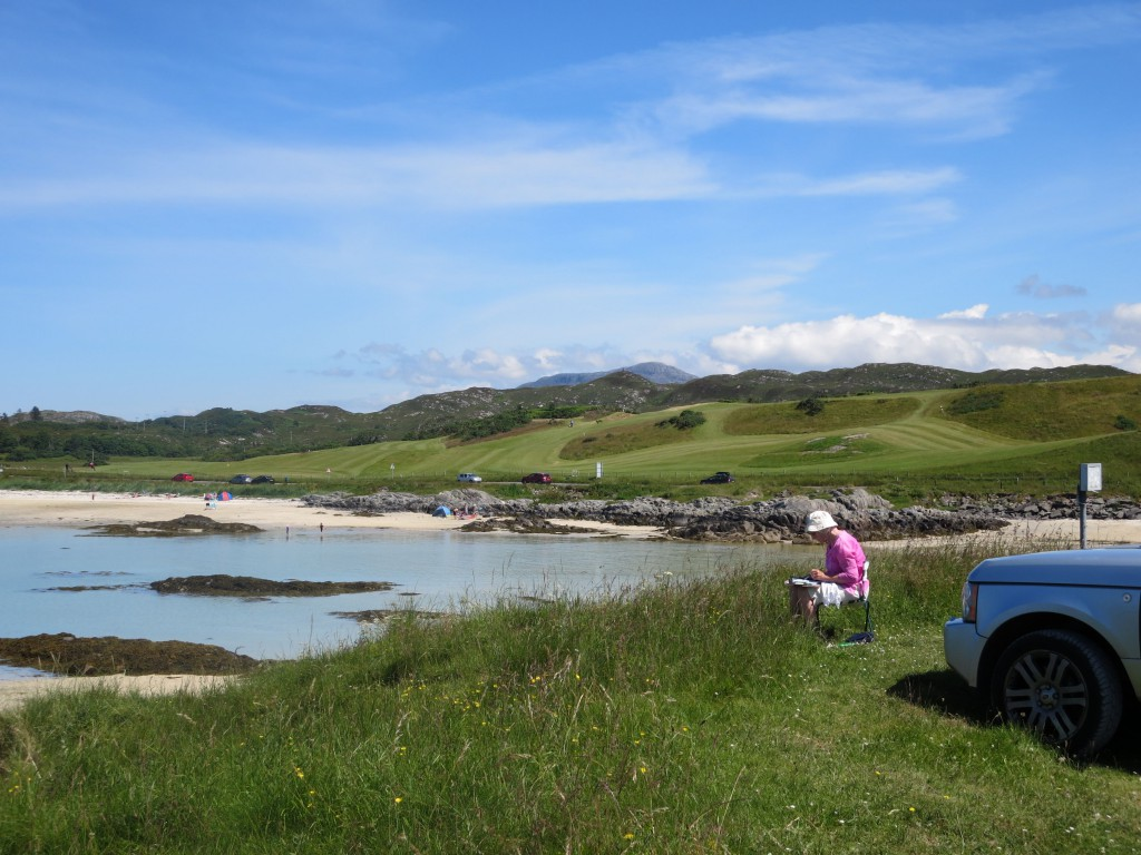 A little painting before taking to the Traigh links.