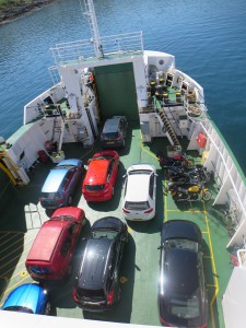 Not hard to find our bright red Focus on the ferry. . .