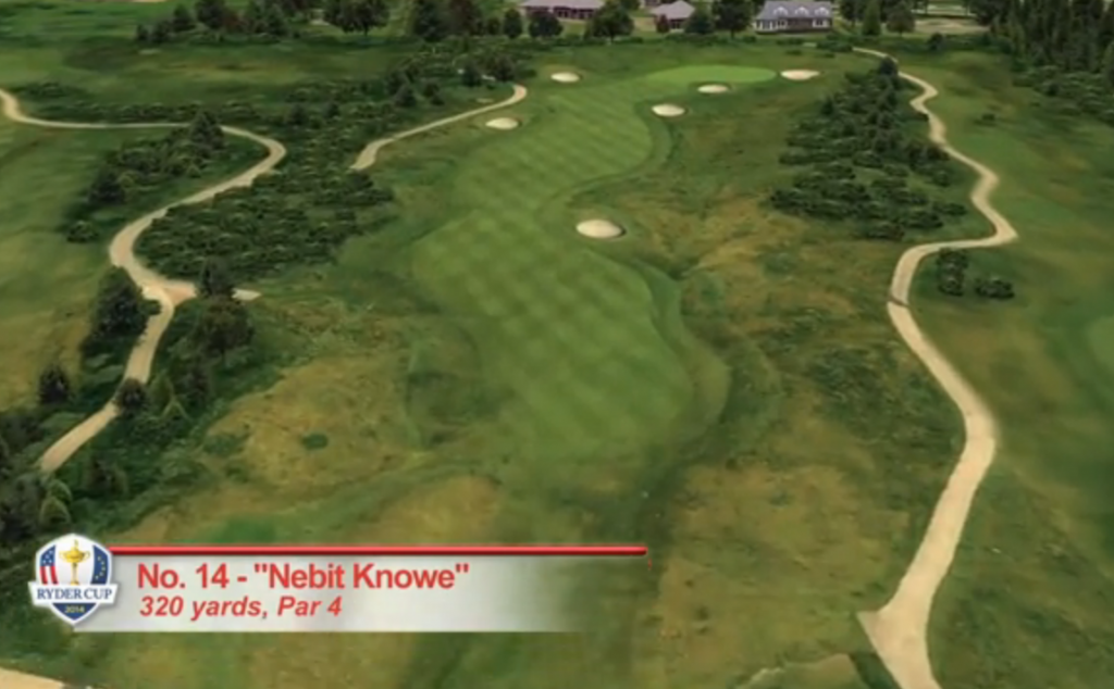 GO FOR IT? At 320 yards, No. 14 is a driveable par four to a tiny green.