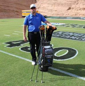 Connor Powers and the SuperSpeed Golf training system, a set of three light-weight swing training ``clubs.''