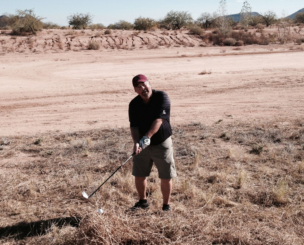 Tumbleweed Junction: Tee shot lands atop a two-foot straw castle.