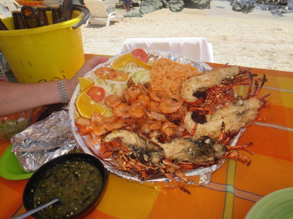 Shrimp & lobster platter, an  irresistible Ixtapa Island dish.