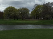 Picturesque but ominous, the 11th green at Jackson Park is guarded by a serious lagoon.