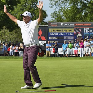 Tom Lehman celebrates after making clinching putt on final hole of 2014 Encompass Championship
